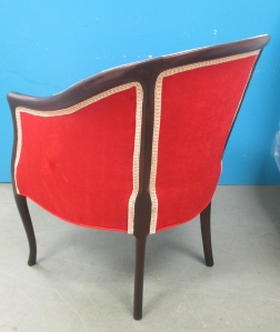 Ultra suede Victorian chair with contrasting scroll gimp trim.