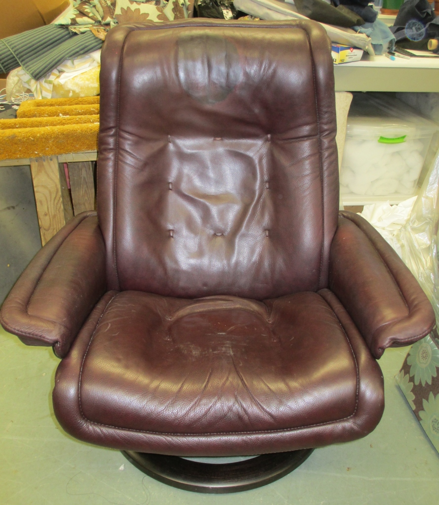 Before restoration/note headrest of EKORNES RECLINER damage